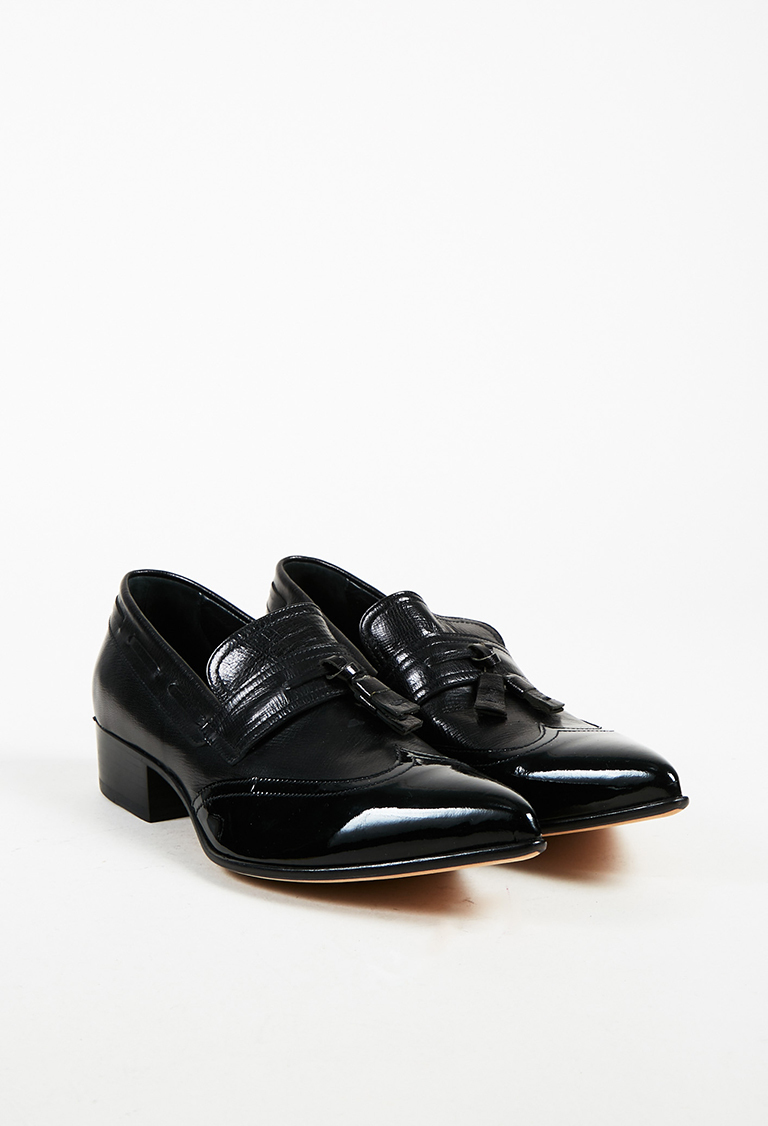 Men's Black Leather & Patent Pointed Toe Loafers