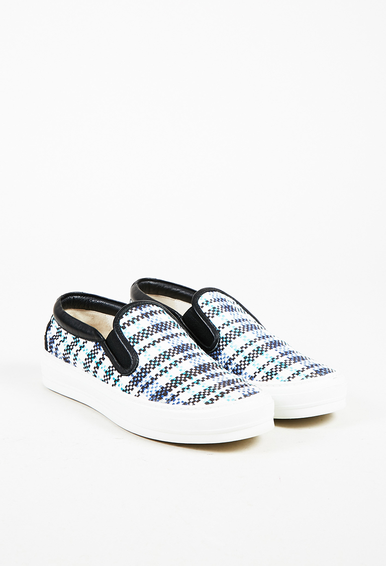 White Multicolor Woven & Leather Trim Slip On Sneakers