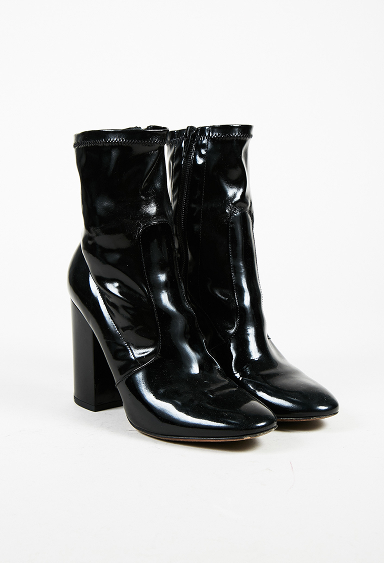 bf00be73120 Black Patent Leather Round Toe Block Heel Ankle Boots