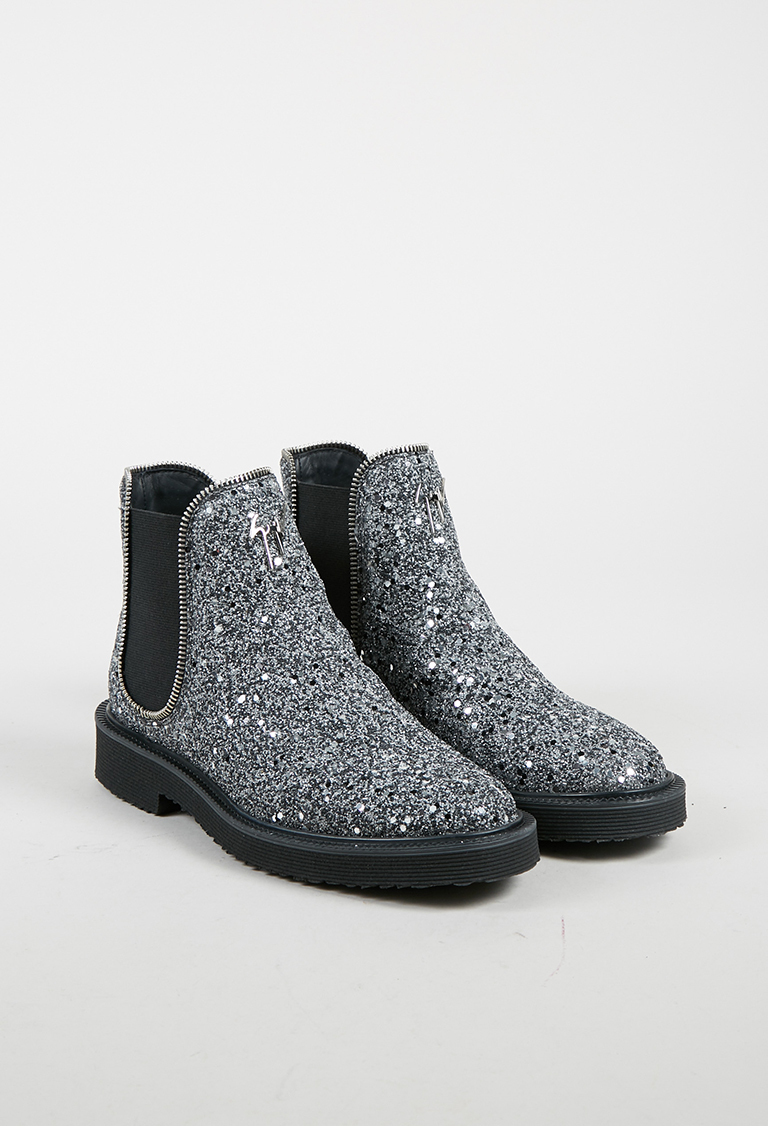 """Metallic Silver Leather Glittered """"Hilary"""" Boots"""
