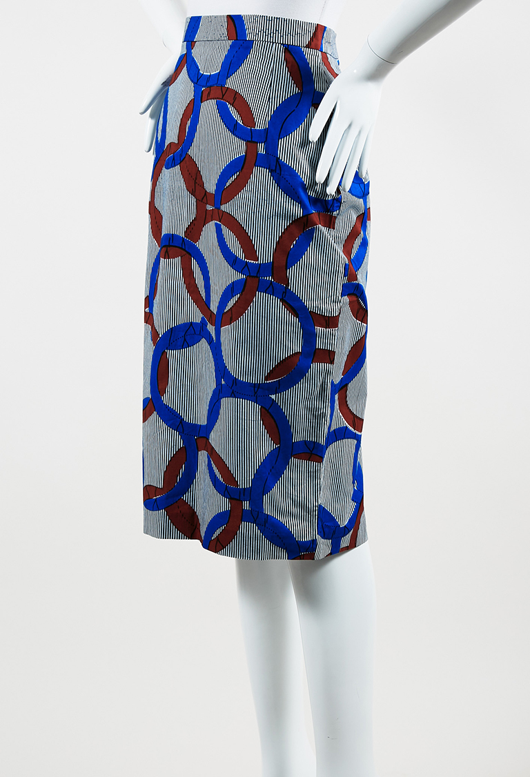 Maison Chateau Rogue Blue Multi Cotton Circle Print Skirt
