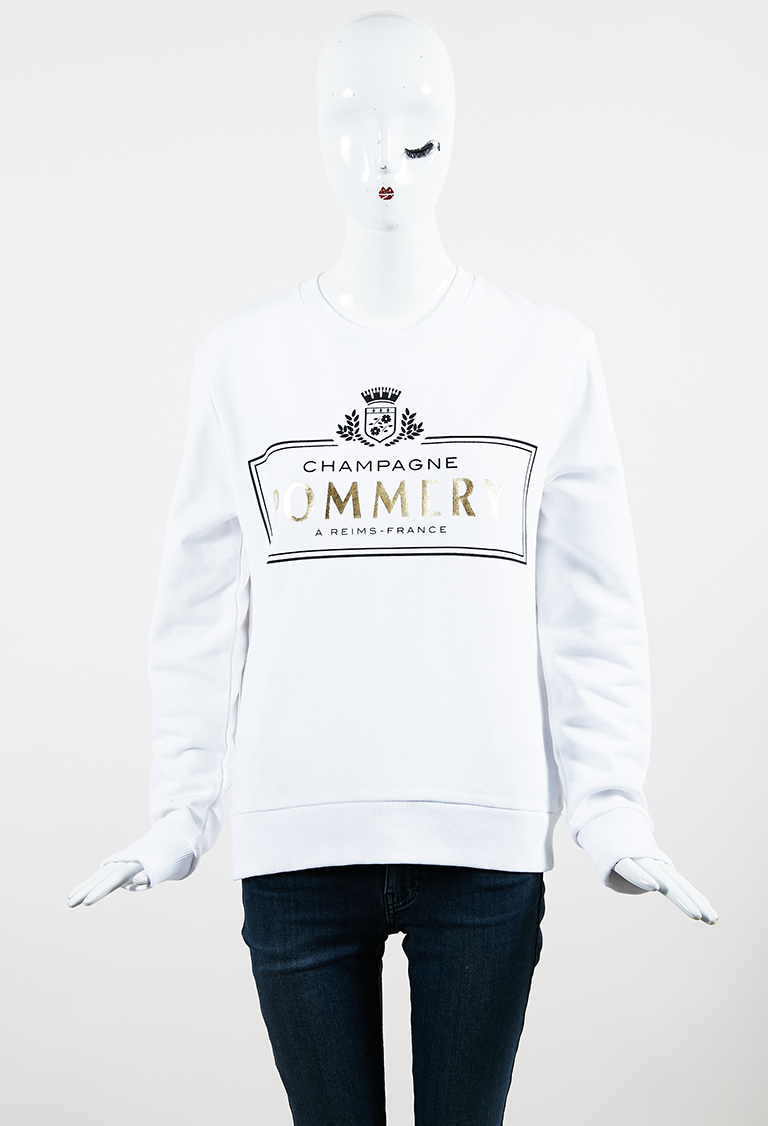 White Multi Cotton Long Sleeve Printed Sweatshirt