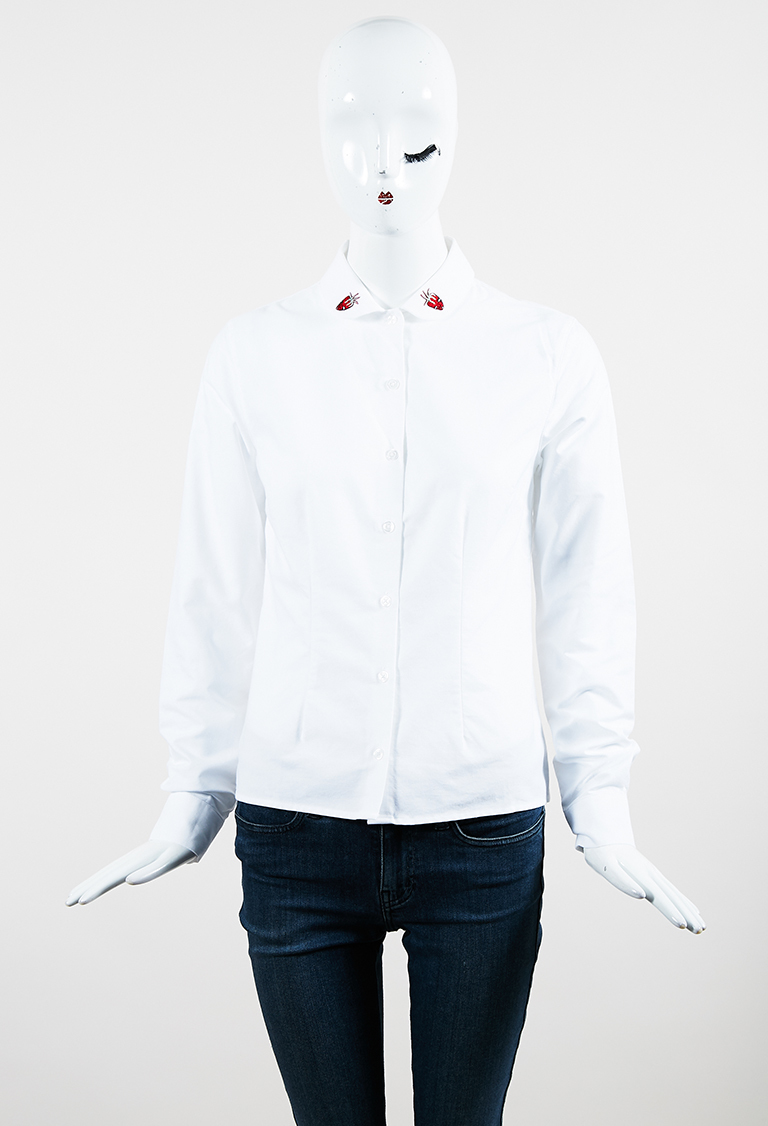 "White Cotton ""Sally Sal"" Strawberry Patch Shirt"