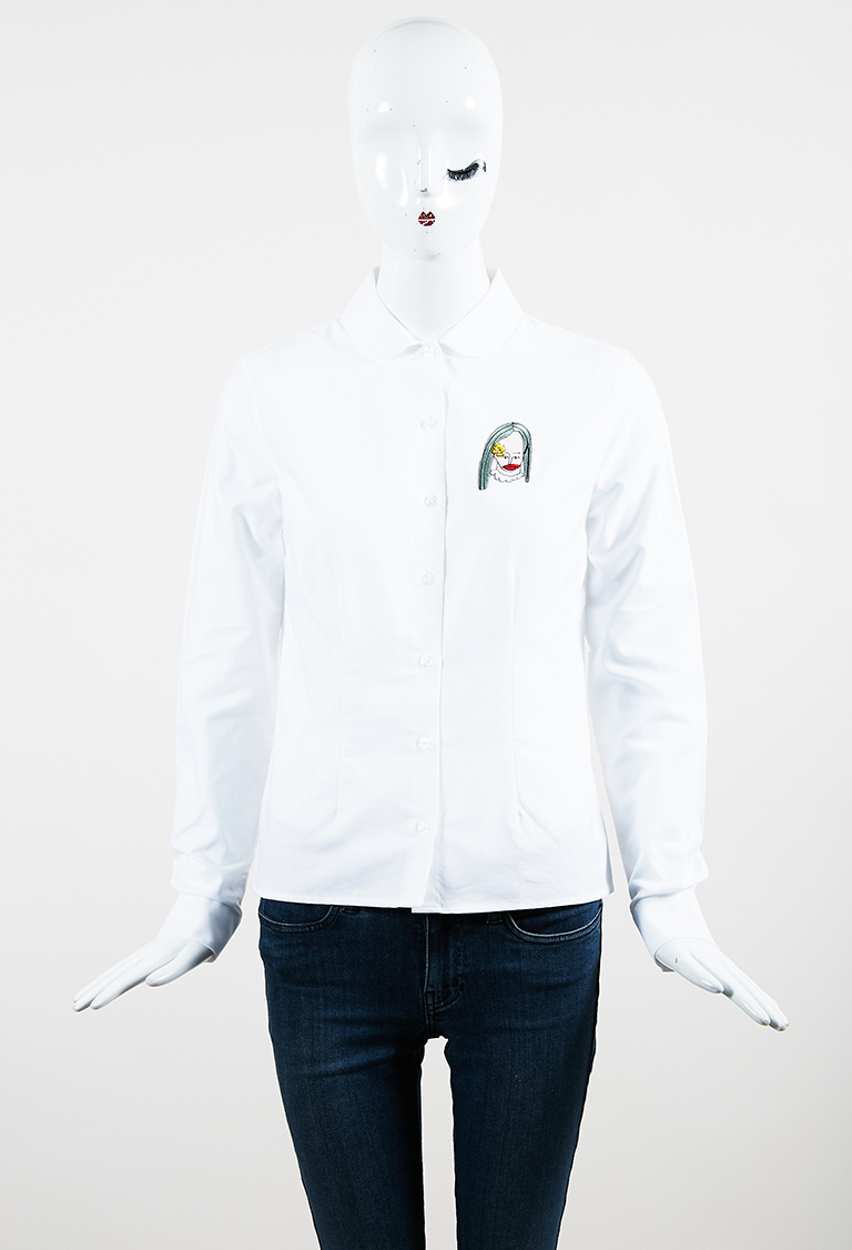 "White Cotton ""Sally Sal"" Patch Long Sleeve Shirt"