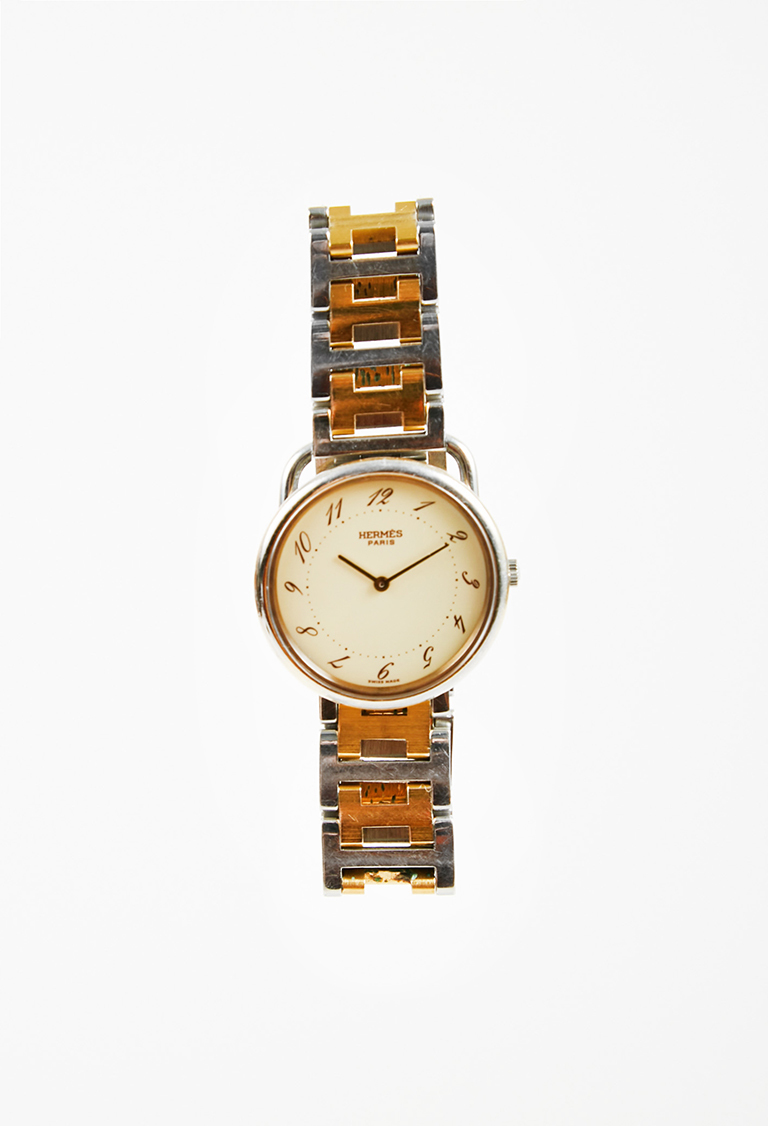 "Stainless Steel Gold Plated 'H' ""Arceau"" Round Bracelet Watch"