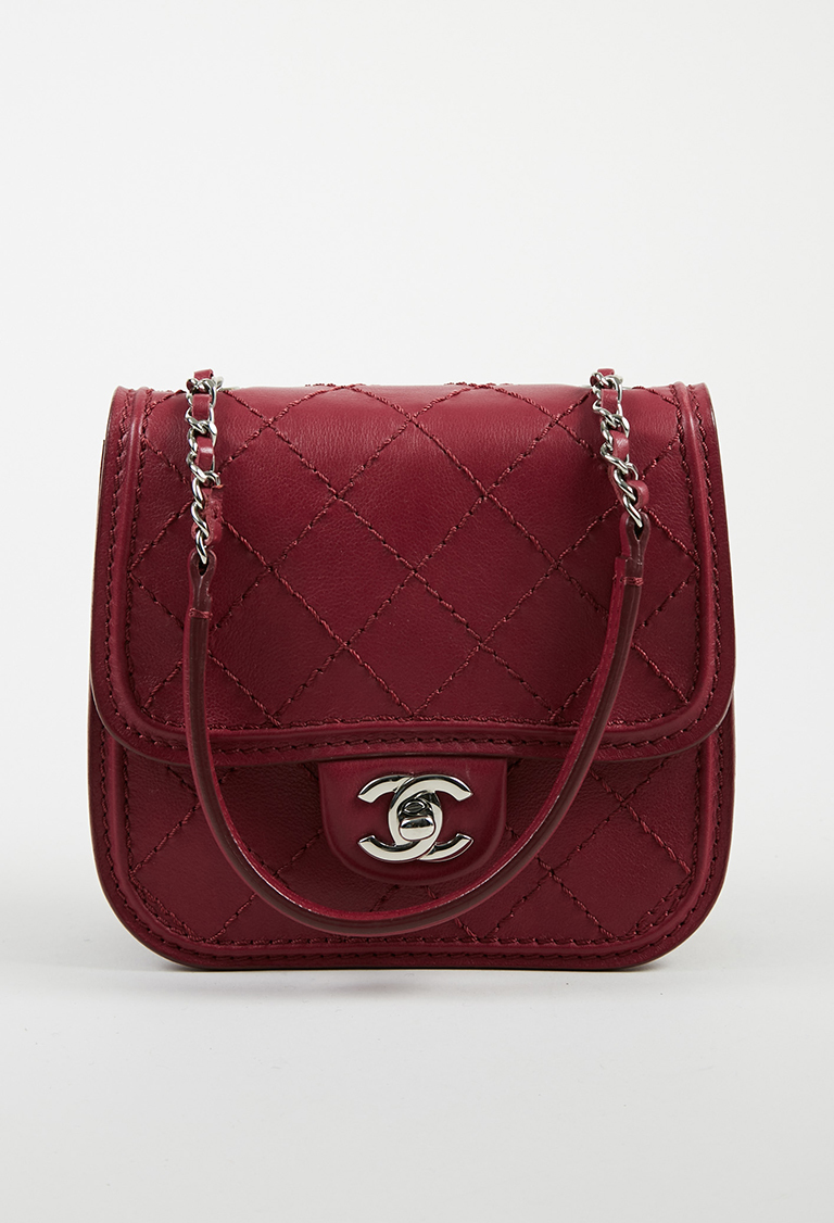c7f1fc063d43 Chanel. Red Quilted Calfskin Leather Silver Tone Chain Link Shoulder Bag