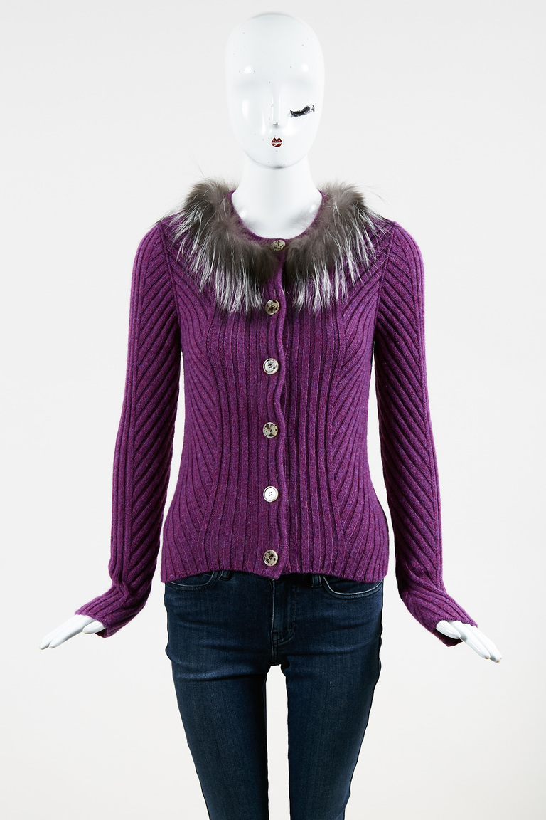 Purple Cashmere & Fox Fur Ribbed Knit Buttoned Cardigan