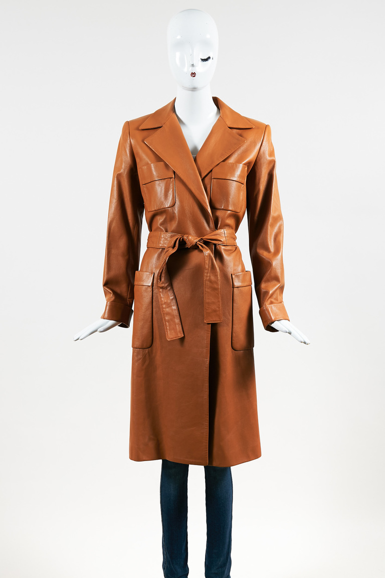 Brown Leather Collared Open Long Jacket
