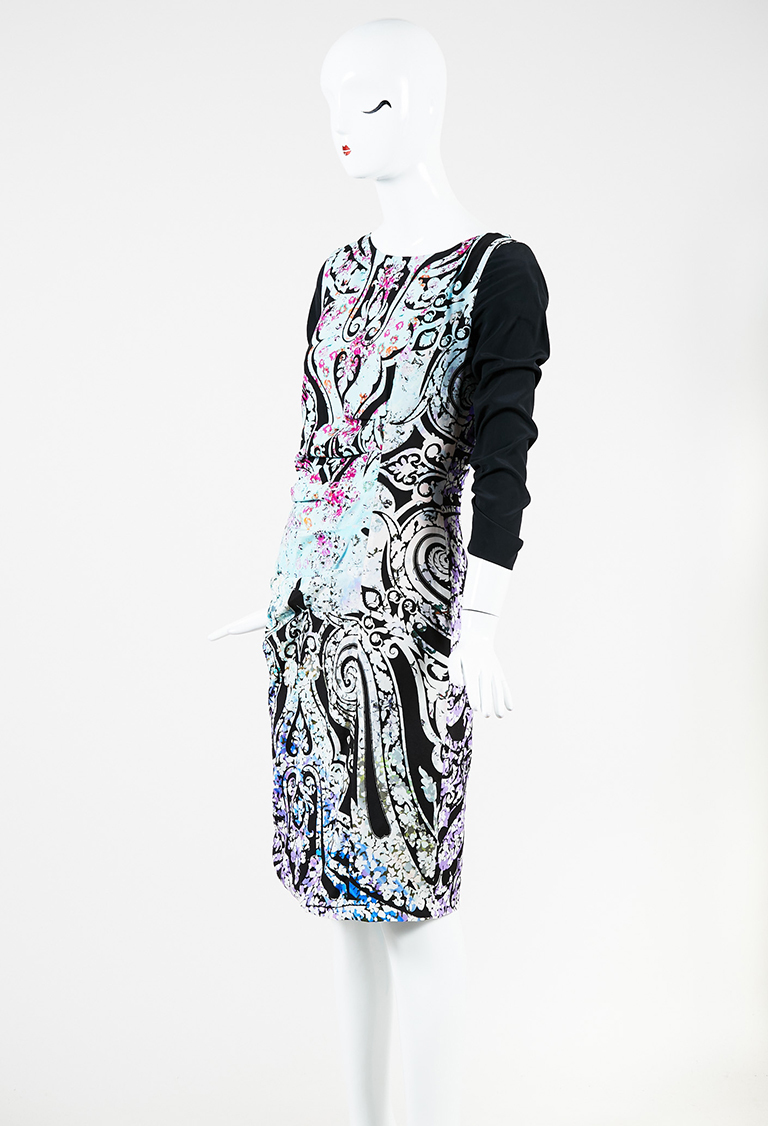 Black Multicolor Silk Blend Floral Print Draped Long Sleeve Sheath Dress