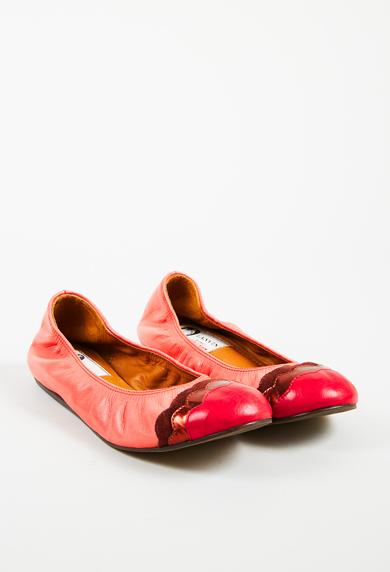 Pink Red Leather & Suede Scalloped Cap Toe Ballet Flats