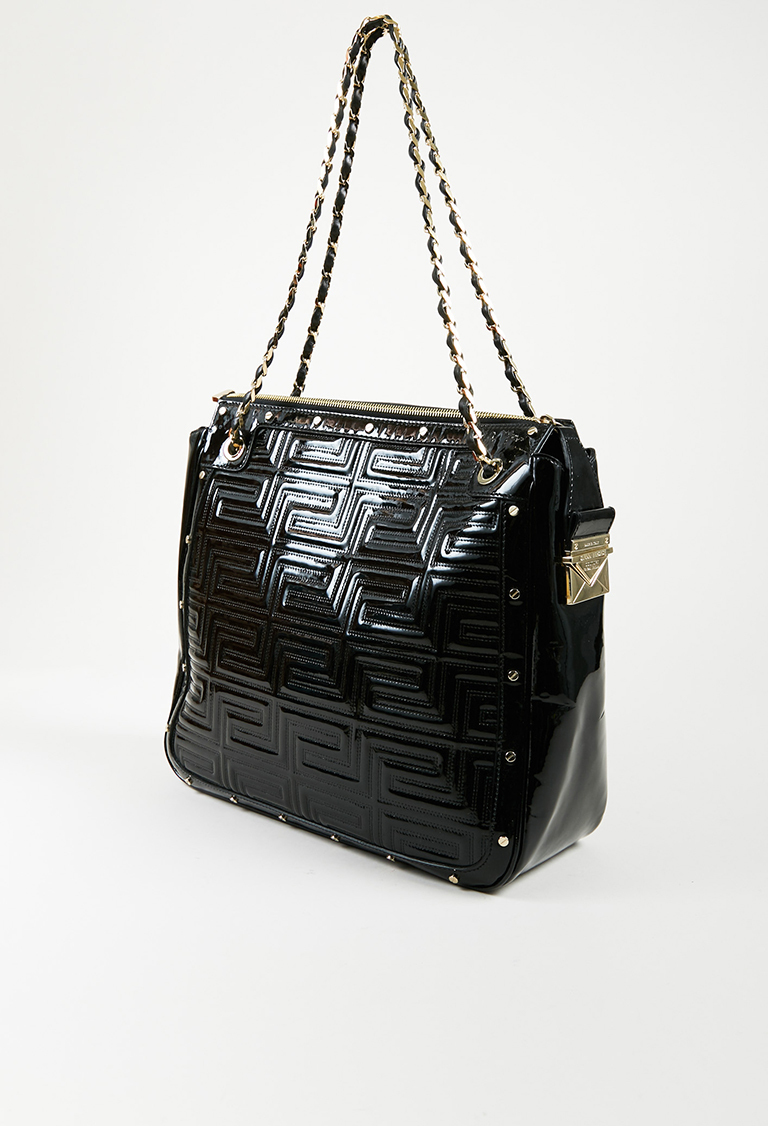 f4a7a8affc Gianni Versace Couture Black Quilted Patent Leather Gold Tone ...