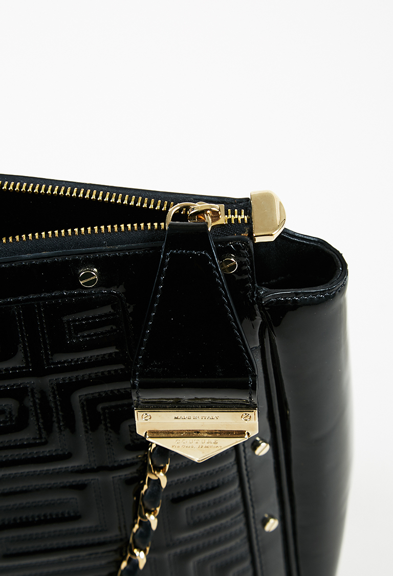 1e7dd62f75 Gianni Versace Couture Black Quilted Patent Leather Gold Tone Studded Tote  Bag