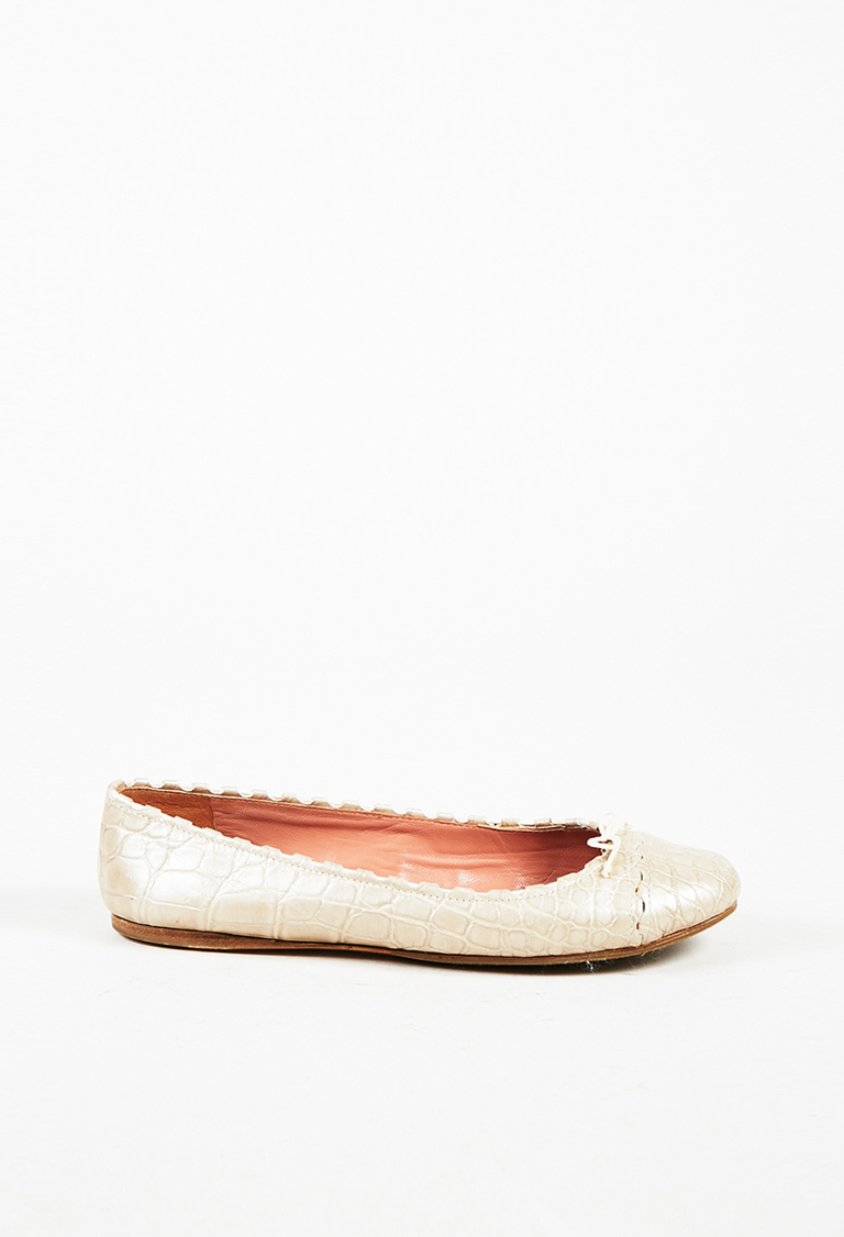 Beige Embossed Leather Round Toe Ballet Flats