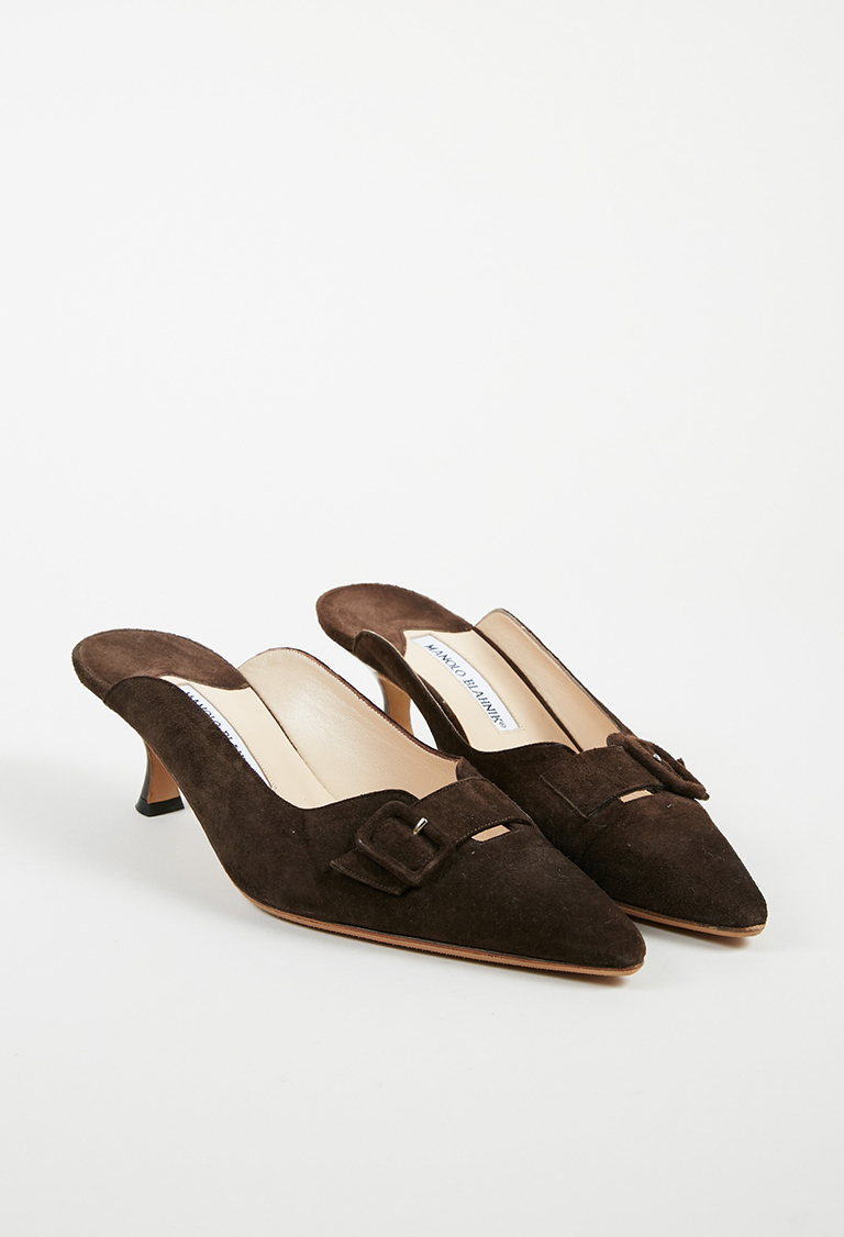 Manolo Blahnik. Brown Suede Buckled Pointed Toe Kitten Heel Pumps