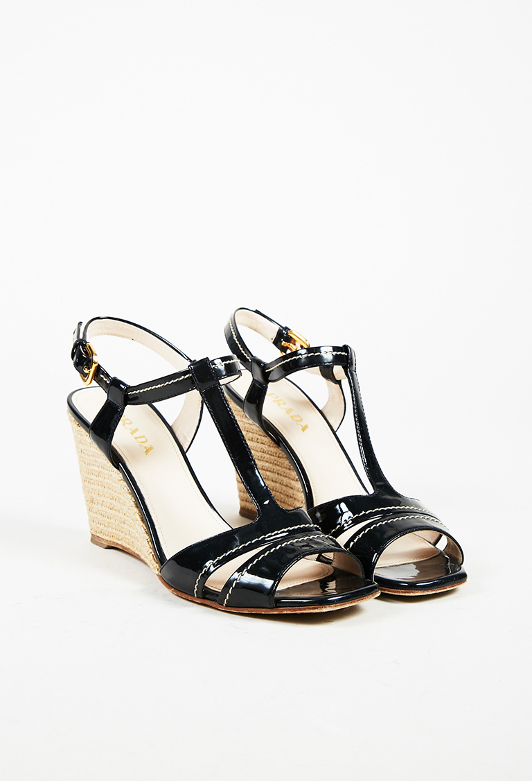 Black Patent Leather Espadrille Wedge Sandals
