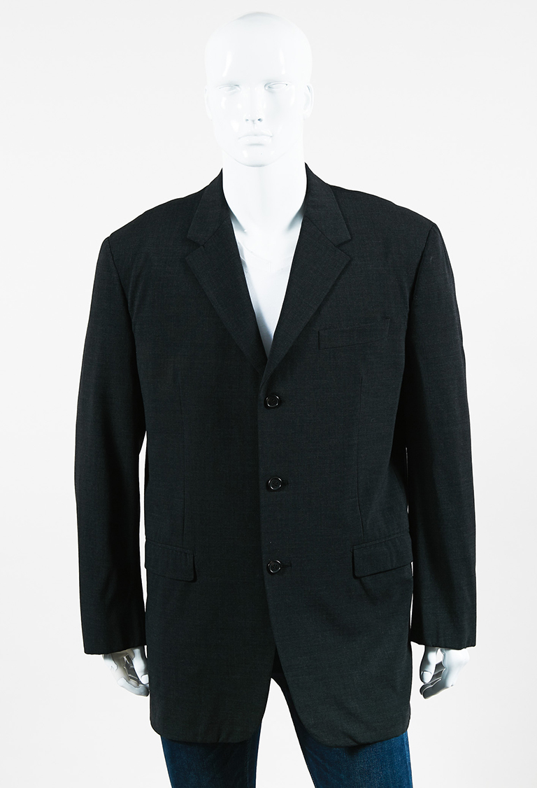 MENS  Gray Virgin Wool 3 Button Blazer