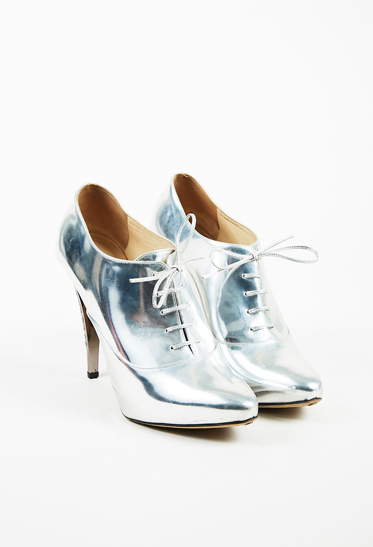 Metallic Silver Mirror Leather Studded Heel Ankle Boots