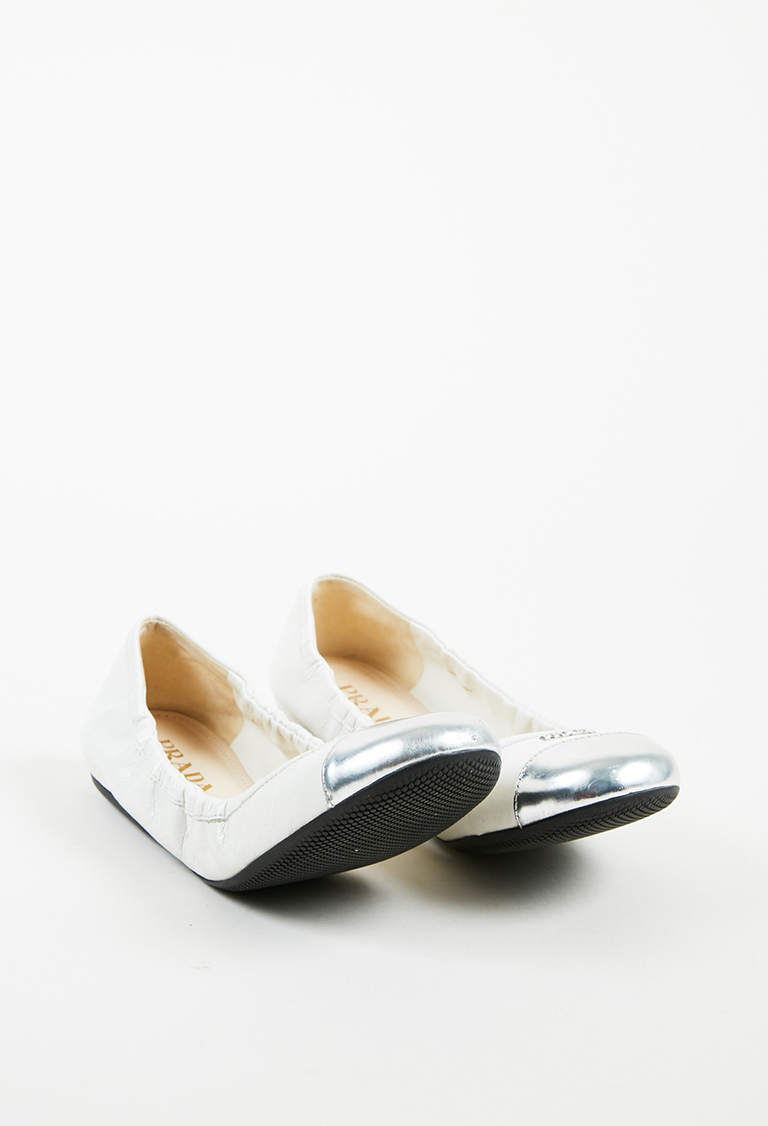 White Leather Metallic Silver Cap Toe Ruched Flats