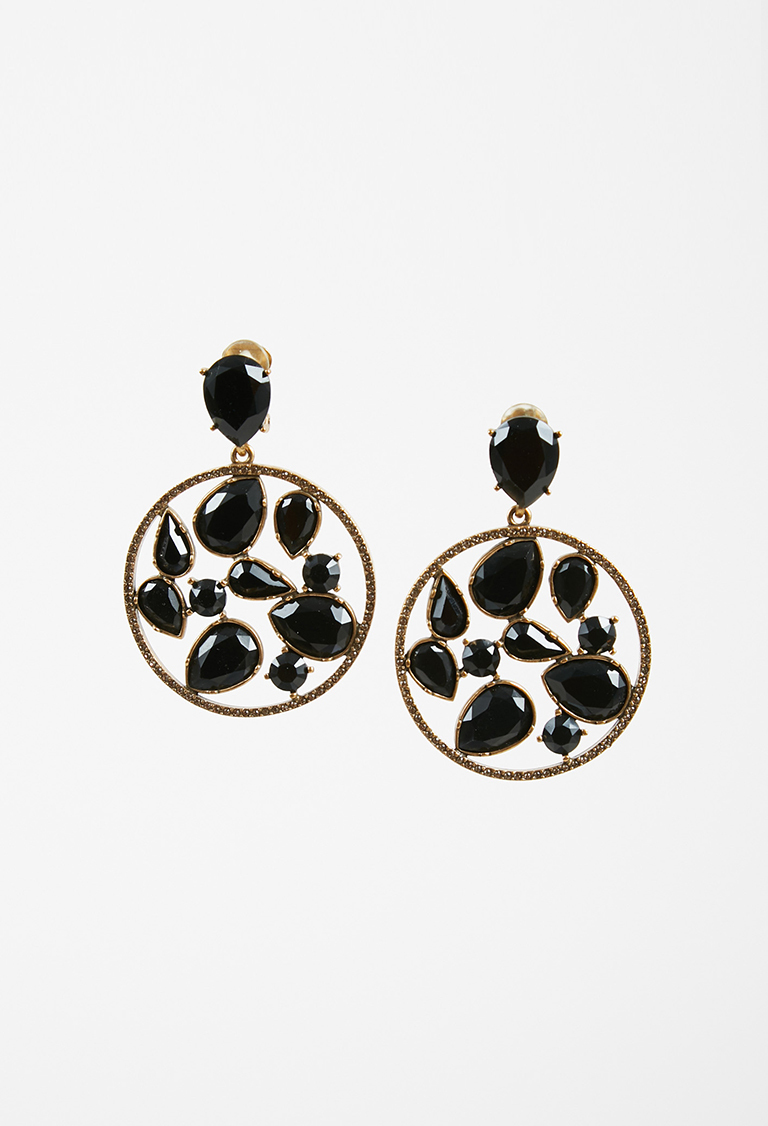 Gold Tone Metal Black Crystals Clip On Earrings