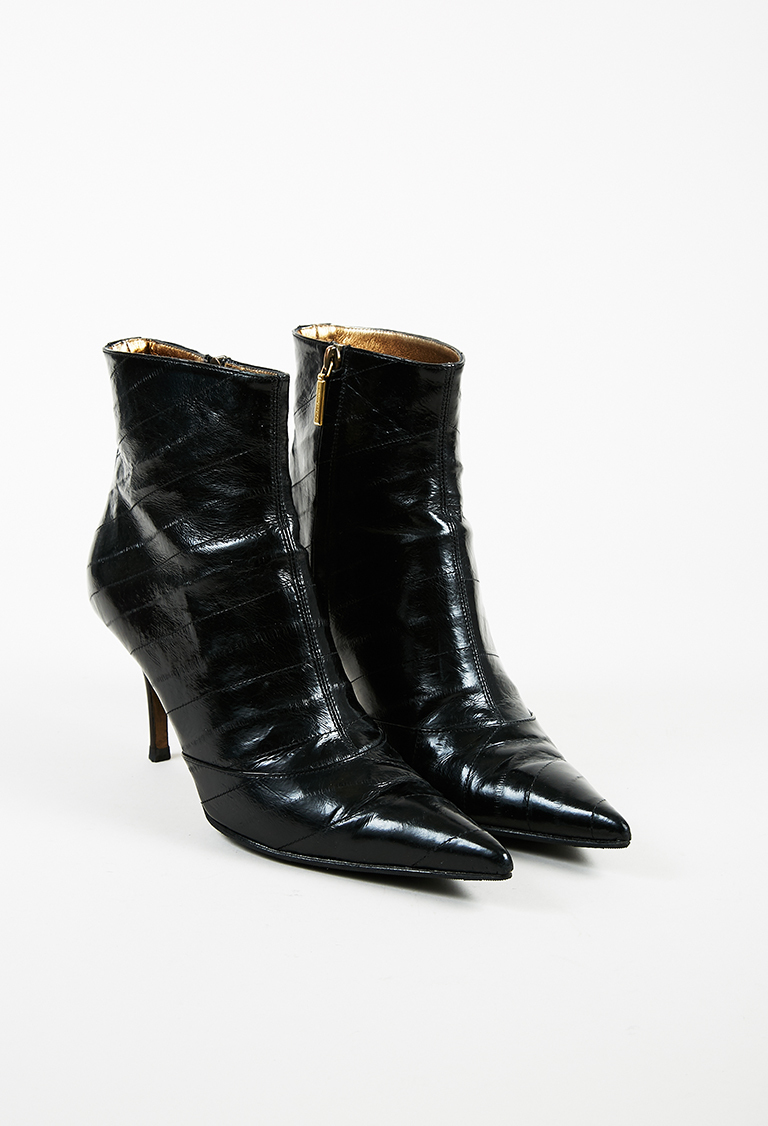 """Nero"" Black Eel Skin & Leather Pointed Ankle Boots"