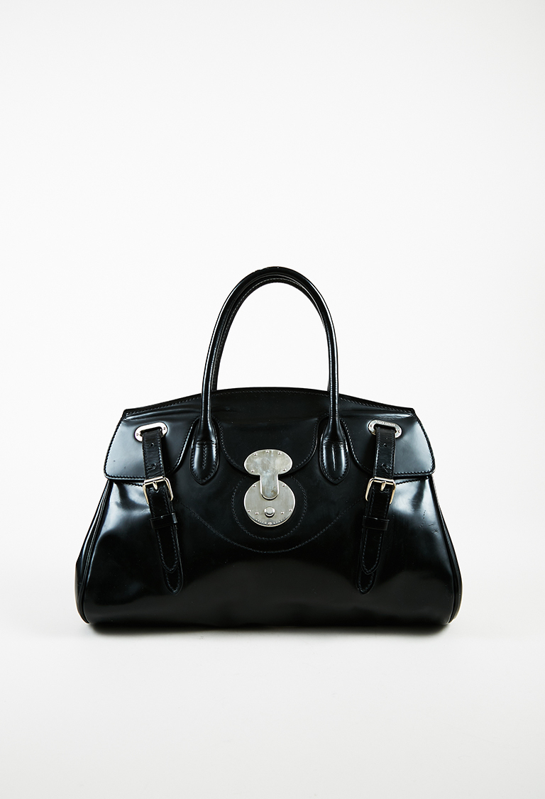 "Black Leather Top Handle ""Ricky"" Satchel Bag"