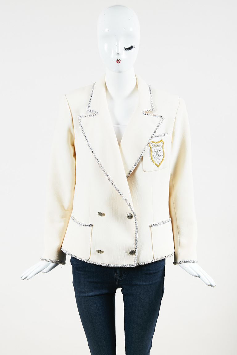 Cream Wool Blend Tweed Trim Logo Emblem Jacket