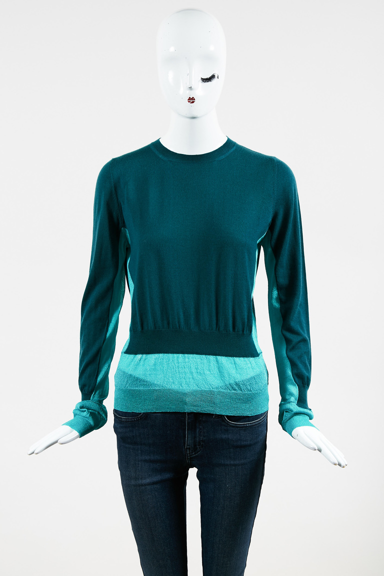 Two Tone Green Cashmere Blend Colorblock Sweater
