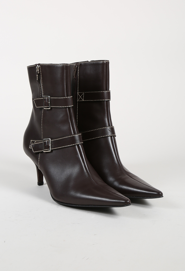 Brown Leather Buckled Pointed Toe Ankle Boots