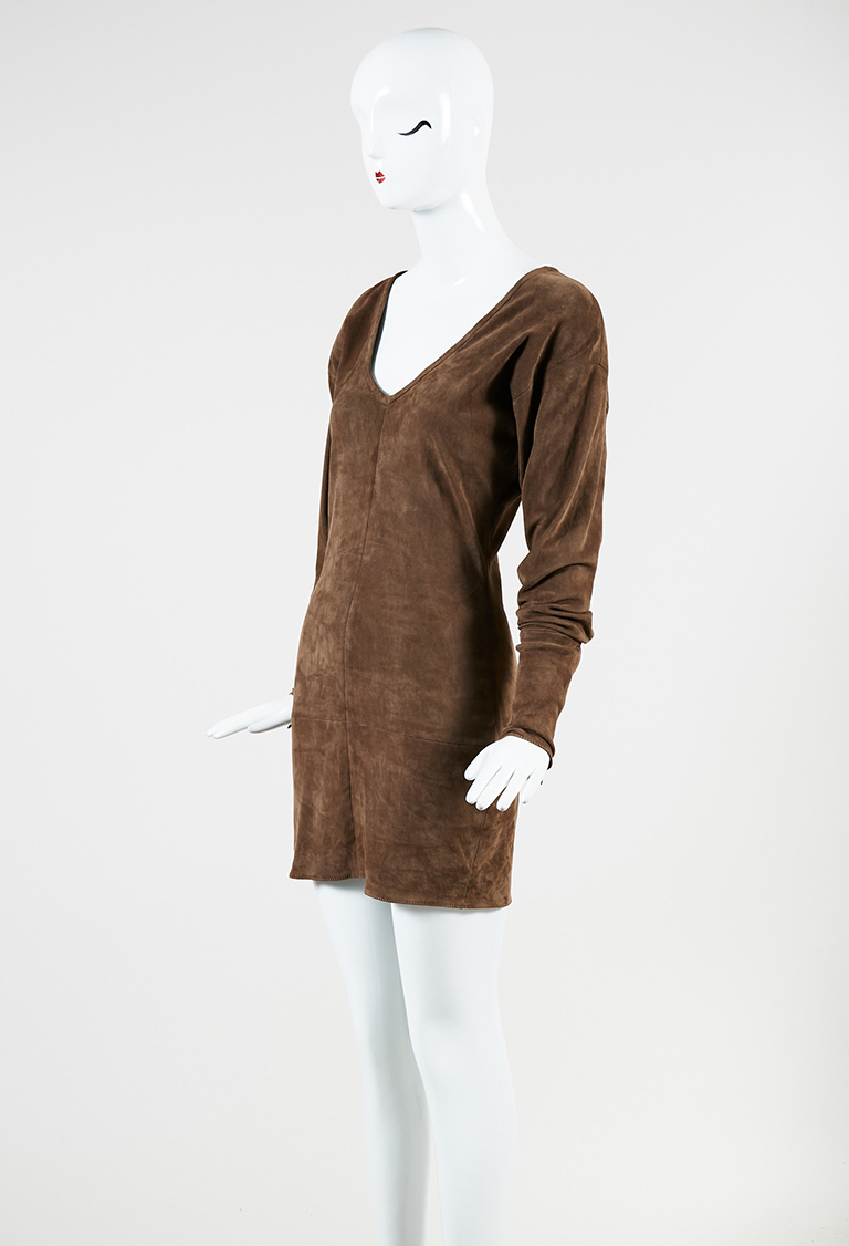 Brown Stretch Suede V Neck Long Sleeve Mini Dress