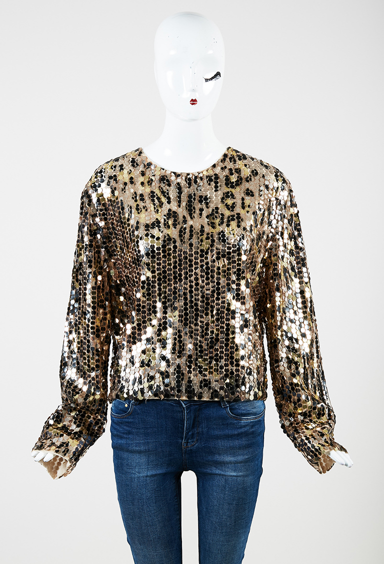 Gold Silk Blend Sequin Embellished Long Sleeve Top