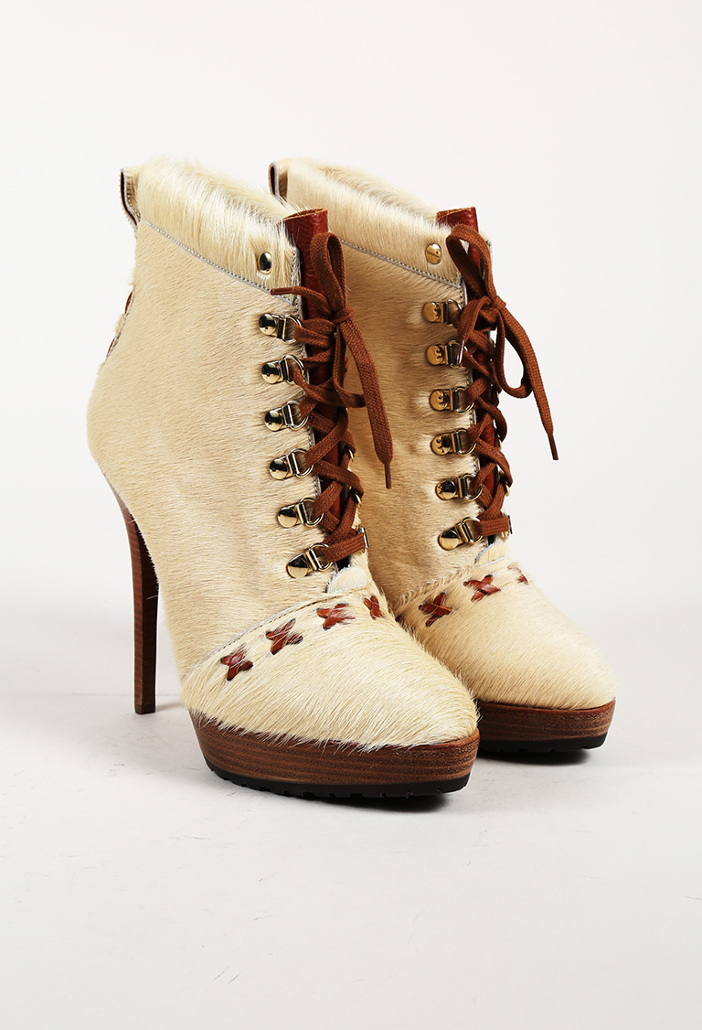 Cream & Brown Calf Hair & Leather Platform Lace Up Boots