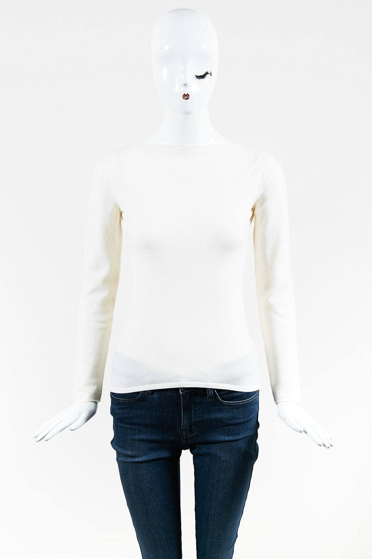 Cream Knit Low Cut Back Bamboo Detail Long Sleeve Sweater
