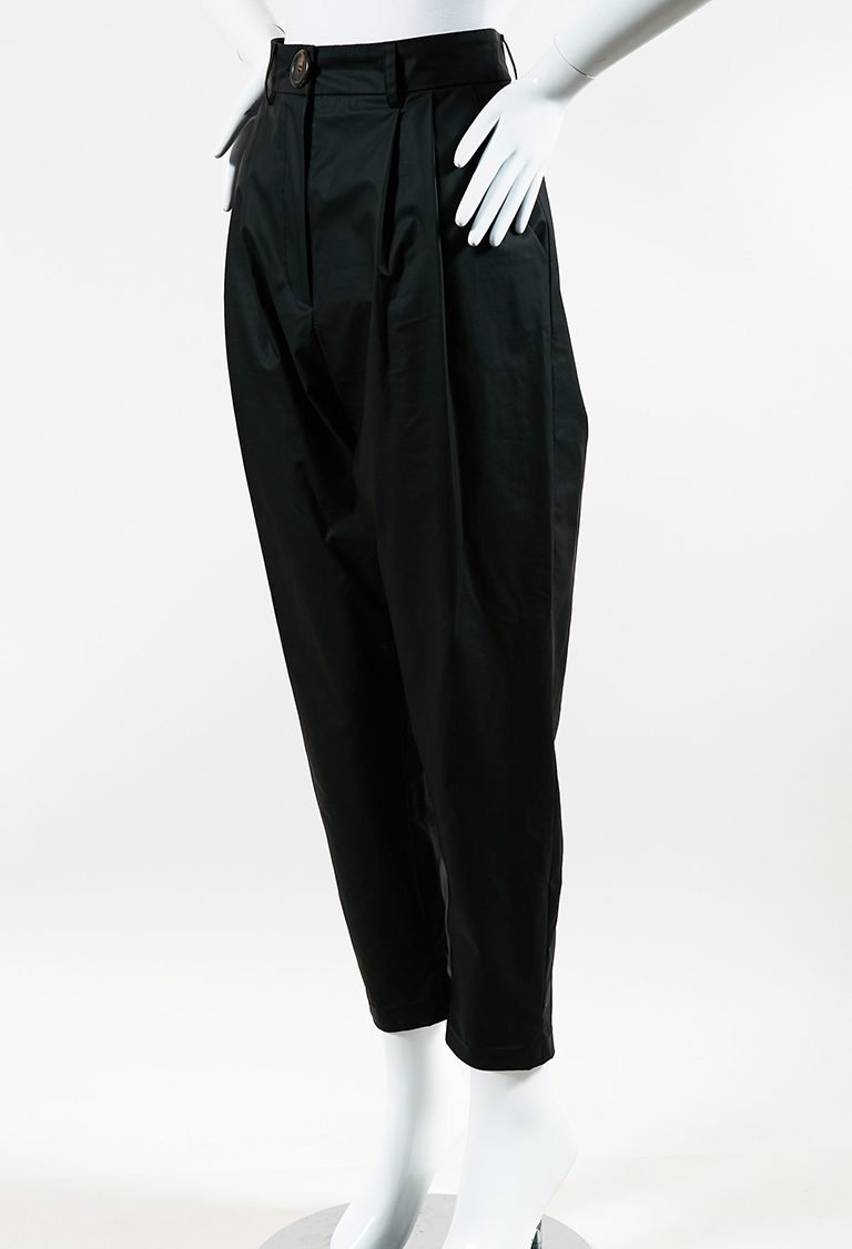 Black Nylon High Waist Slim Leg Pants