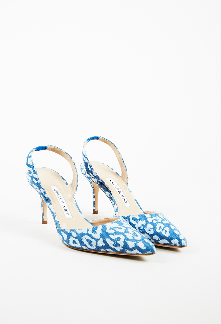 Blue & White Denim Cheetah Print Carolyne Slingback Pumps