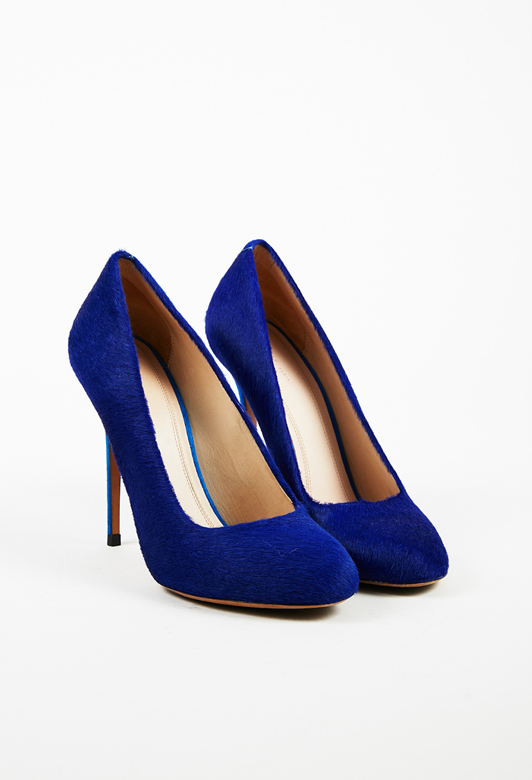 Two Tone Blue Pony Hair & Suede High Heel Pumps