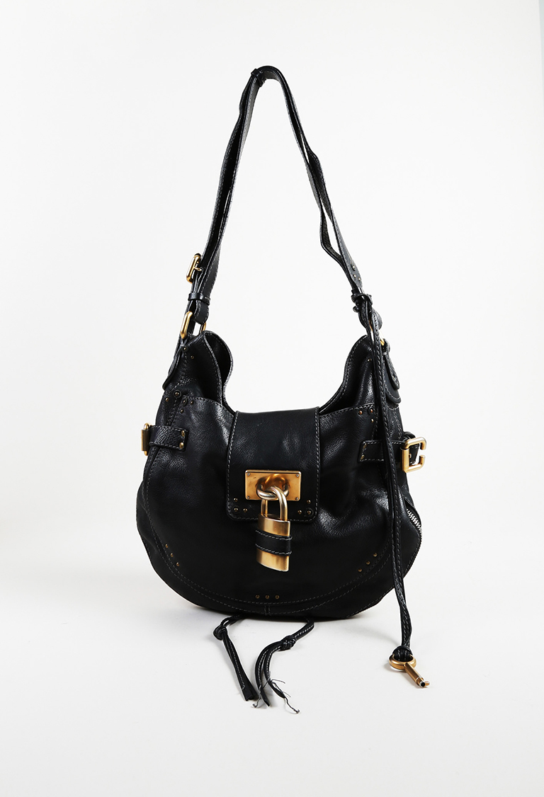 "2007 Black Leather Padlock ""Paddington"" Hobo Bag"