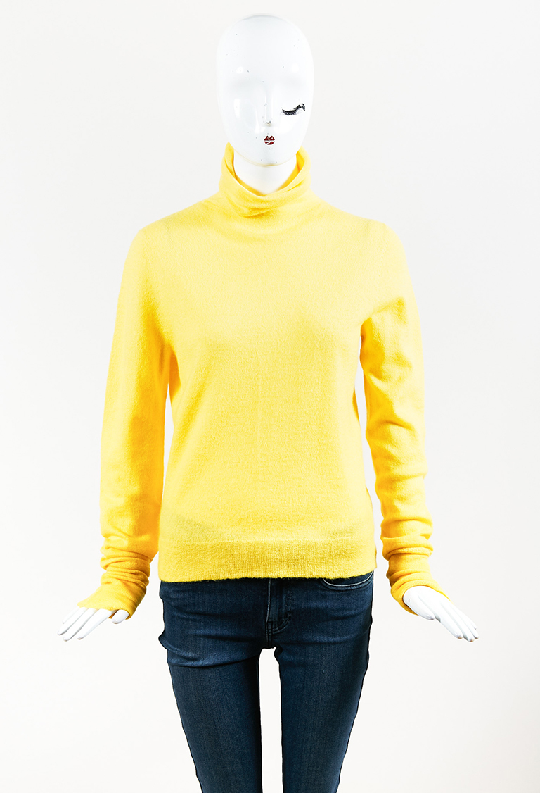 Yellow Cashmere Blend Long Sleeve Turtleneck Sweater
