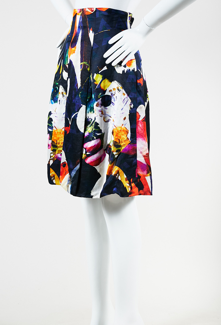 Multicolor Silk Blend Floral Print Pleated Skirt