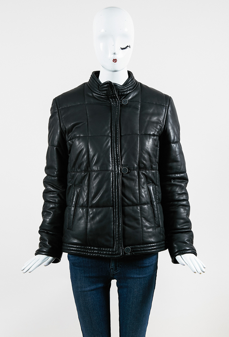 MM6  Black Leather Down Zipped Puffer Jacket