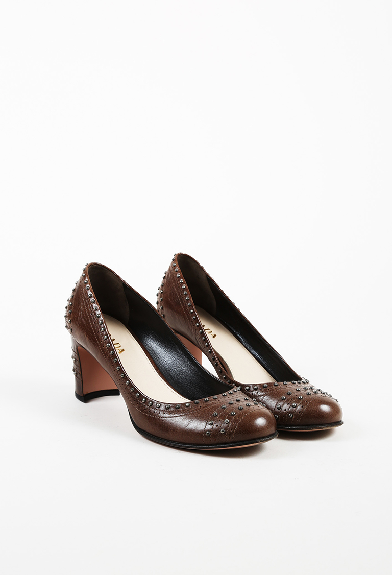 Brown Leather Studded Brogue Pumps