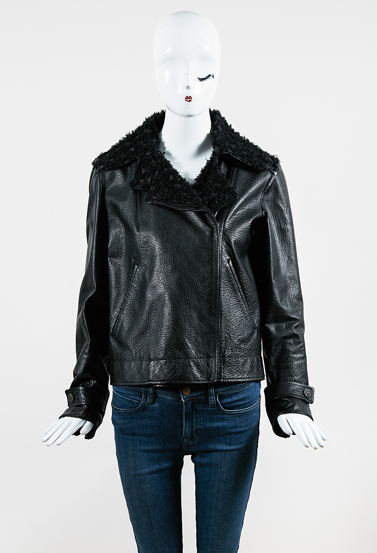 Black Pebbled Leather & Tweed Trimmed Zip Up Moto Jacket
