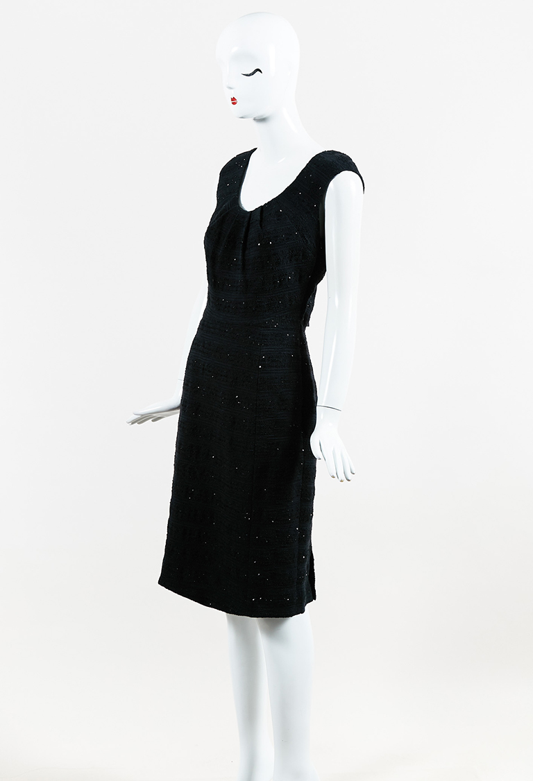 Black Sleeveless Sequined Pleated Scoop Neck Dress