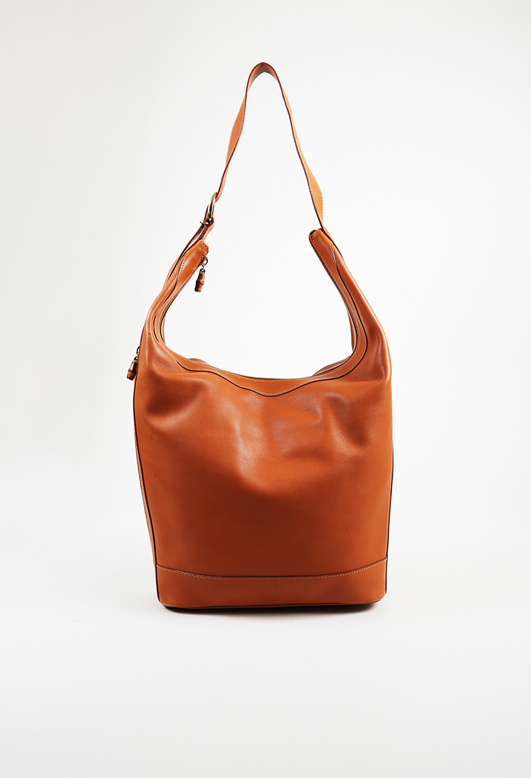 VINTAGE  Brown Leather Hobo Bag