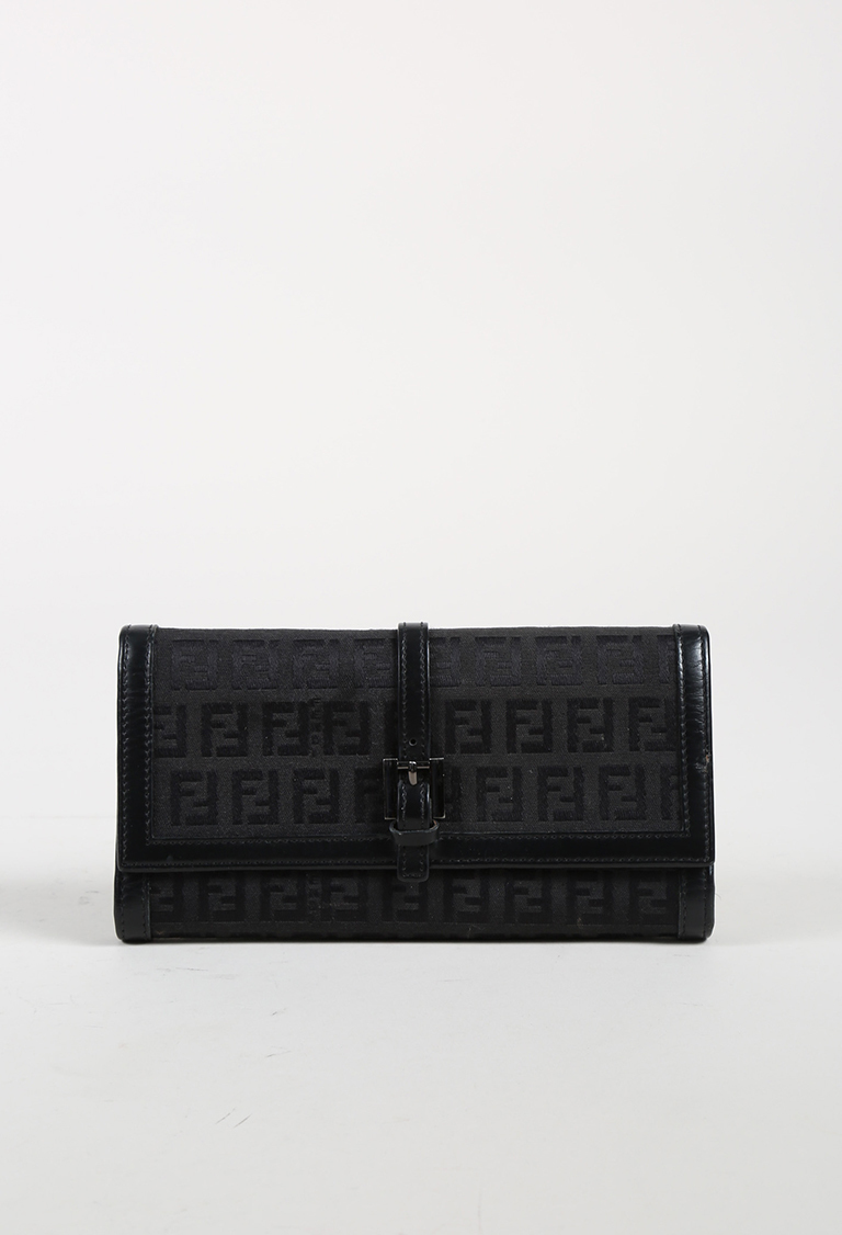 "Black Canvas & Leather ""Zucca"" Monogram Continental Wallet"