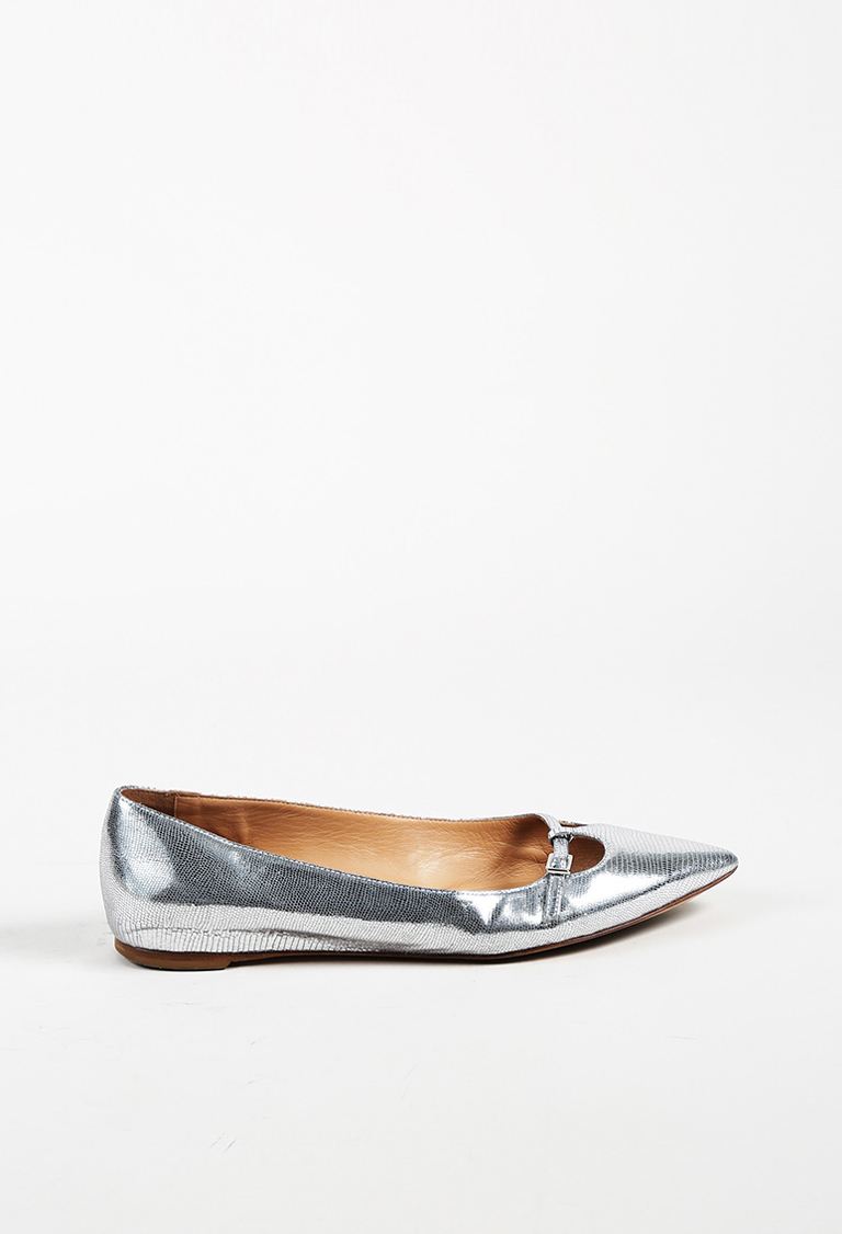 Metallic Silver Embossed Snakeskin Leather Flats