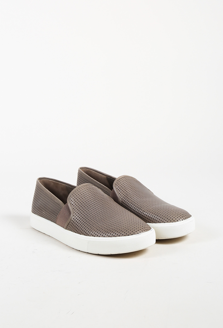 Gray Perforated Leather White Platform Slip On Sneakers