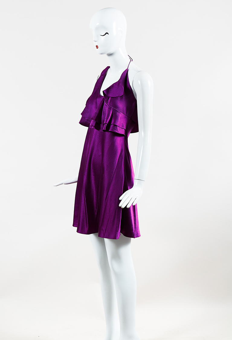 Heritage Purple Silk Ruffled Mini Halter Dress