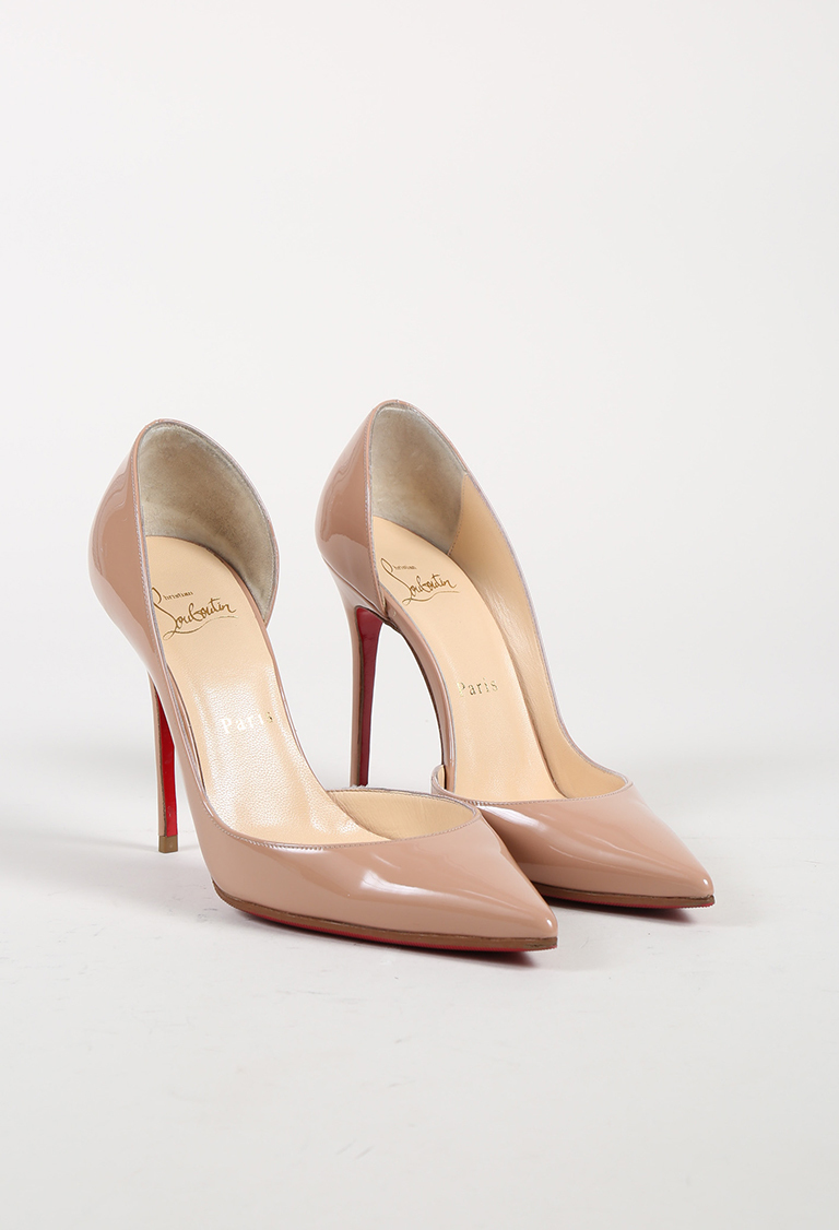 "Nude Patent Leather ""Iriza"" Pointed Toe Pumps"