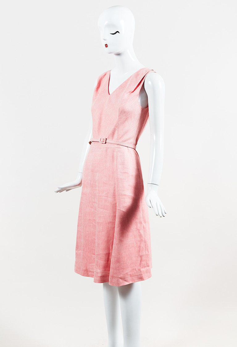Pink Sleeveless Silk Blend Belted Dress