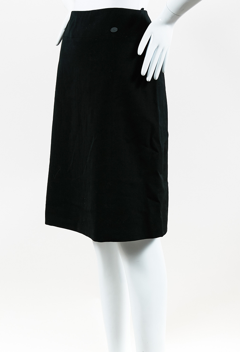 Spring 2001 Black Silk & Wool A Line Skirt